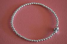 925 Sterling Silver Beaded Gothic Skull Stretch Bracelet - Skull Bracelet
