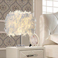 White Feather Table Lamp Shades Lampshade Elegant Bedside Desk Night Light Decor