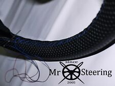 FOR JAGUAR XJ6 79-92 PERFORATED LEATHER STEERING WHEEL COVER R BLUE DOUBLE STCH