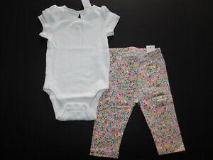 NWT Gap Baby Girl's 2 Pc Set Lace Trim Bodysuit/Floral Leggings 3-6M New
