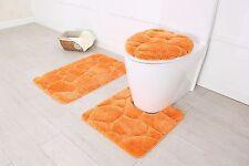 Hotel Collection 3 Piece Premium River rock Bath rug set 100% Polyester (Orange)