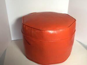 Mid century orange footstool Hassock ottoman octagon vinyl retro naugahyde