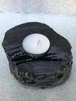 """4.5"""" Black Obsidian Candle Holder Crystal Quartz Natural Stone"""