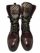 NEW, ETRO MEN'S BROWN RUNWAY LACE UP SHEARLING LINED BOOTS, 42, $2450