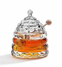 Crystal Bee Hive Honey Jar 6inch Dipper Stick Condiment Pot W/ Lid Serving Spoon