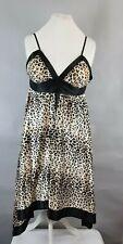 Lipsy Satin Stretch Leopard Animal Print Chemise Nightie Nightwear UK 10 New
