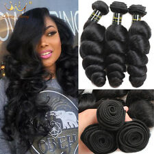 3 Bundles loose wave 100% Virgin Brazilian Remy Human Hair extensions Weave Weft