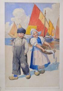 Children Playing Fishermen by Austrian Master Karl Feiertag Watercolor 1920 s