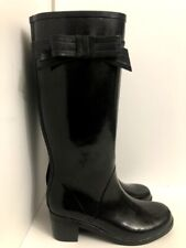 Kate Spade Black Rain Boots Glossy Rubber Tall Knee High Bow Tie Sz 10 Preowned