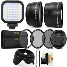 58MM Lens Filter Accessory Kit + LED Light for CANON EOS 550D 500D 450D 400D