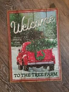 NEW Wood Christmas Wall Yard Sign RED TRUCK WELCOME TO THE TREE FARM 14 x 10