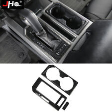 ABS Carbon Grain Gear Water Cup Holder Panel Cover Trim For Ford F150 2017-2019