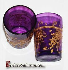 Algerian hand made and painted purple tea glasses
