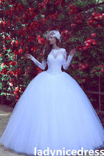 Elegant Long Sleeve White/Ivory Wedding Dress Lace Appliques Ball Bridal Gown