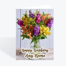 Personalised flowers birthday card female girl sister daughter friend cards