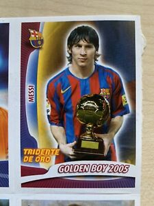 Lionel Messi Barcelona Golden Boy 2005 2006 Super Barca Panini Sticker Sheet