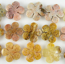 30mm yellow jasper carved flower pendant 2 beads