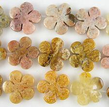 30mm yellow jasper carved flower pendant 2 beads