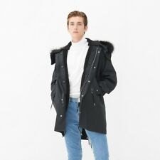 Designer SANDRO Men's navy petrol blue MODS Parka Jacket & black Fur Look Hood