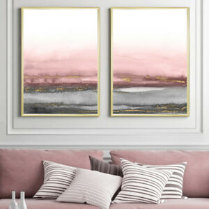 Grey Pink Gold Abstract Wall Art Set Watercolour Painting Print Poster A4 to A1