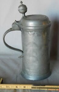 Rare antique pewter tankard flagon dated 1806 decorated engraved hunter stag dog