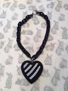Tarina Tarantino Black And White Heart Necklace Used
