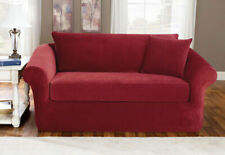 Sure Fit Red 3pc Sofa Slipcover Pique Box Seat Cushion w/back