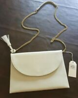 Mudpie Women's White Envelope Style Leather Purse With Gold Chain Strap NWT