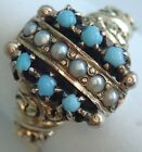 ANTIQUE VICTORIAN ENGRAVED 10K GOLD TURQUOISE PEARL RING