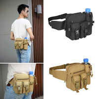Outdoor Men Tactical Travel Hiking Water Bottle Fanny Pack Nylon Waist Bag