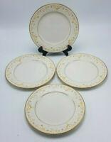 "Set of 4 Noritake Fragrance 7025 White Gold Floral Bread & Butter Plates 6 3/4"""