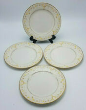 Set of 4 Noritake Fragrance 7025 White Gold Floral Bread & Butter Plates 6 3/4""