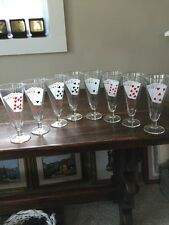 POKER MOTIF BAR GLASS STEMWARE WITH EIGHT GLASSES IN PERFECT CONDITION