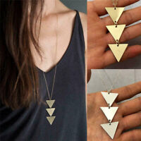 Fashion Women Punk Triangle Pendant Retro Necklace Long Chain Sweater Jewelry