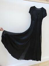 Black Silk Maxi Dress Size 8, Long Sleeve, Black PURE SILK