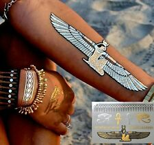 Egyptian Eye tattoo Gold Metallic Temporary Tattoo Arm Henna Transfer Sticker