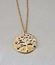 Tree of life necklace gold tone disc silver tone tree cable chain Mom's gift