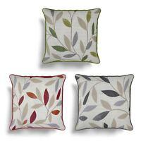 "Beechwood Cushion Cover Modern Leaf Printed Cotton Cushion Covers 17"" x 17"""