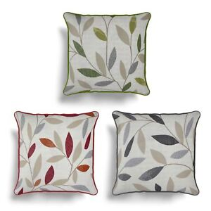 "Beechwood Cushion Cover Modern Leaf Printed Cotton Cushion Covers 17"" x 17"""