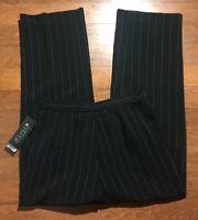 NWT Kasper Dress Pants Size 6 Womens High Rise Black Straight Leg Trousers