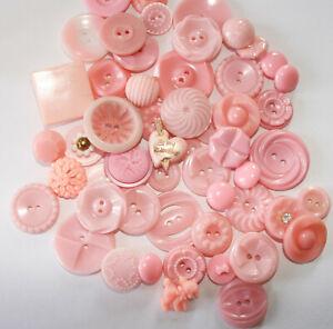 Big Lot Vintage Plastic Realistic Pierced Pink Buttons~Colt, Housedress, Flowers