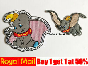 Dumbo Flying Elephant Film Patches Badges Iron On / Sew On