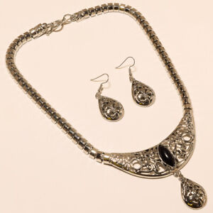 BlackOnyx Necklaces Earrings 925 Silver Turkish Necklace Jewelry Gift for her