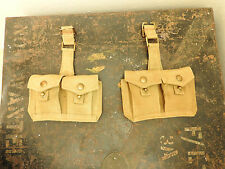 Military Post WW2 Canadian Ammo Sentry Double Pouches Belt Webbing Canada (4892)