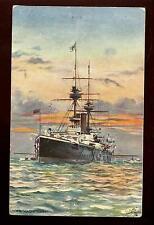 Royal Navy H.M.S.. MAGNIFICENT Battleship PPC Tuck Oilette #9079