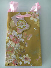 Small Butterfly & Floral Gift Bag 20cm x 12.5cm x 9cm - Any Occasion Mum/Gran