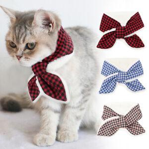 Winter Fleece Dog Scarf Pet Cat Puppy Scottish Bow Tie Warm Plaid Neckerchief