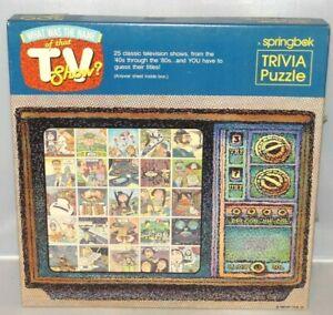 Springbok TV SHOW TRIVIA JIGSAW PUZZLE 40's to 80's 500 pcs PZL3419 Vintage