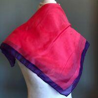 "20"" Square Pink Purple Silk Shantung feel Scarf Head Wrap Vintage"