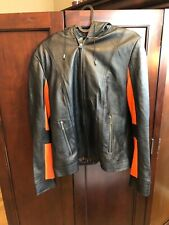 Juliet Michelle black leather jacket with hood by Adler Women's size L